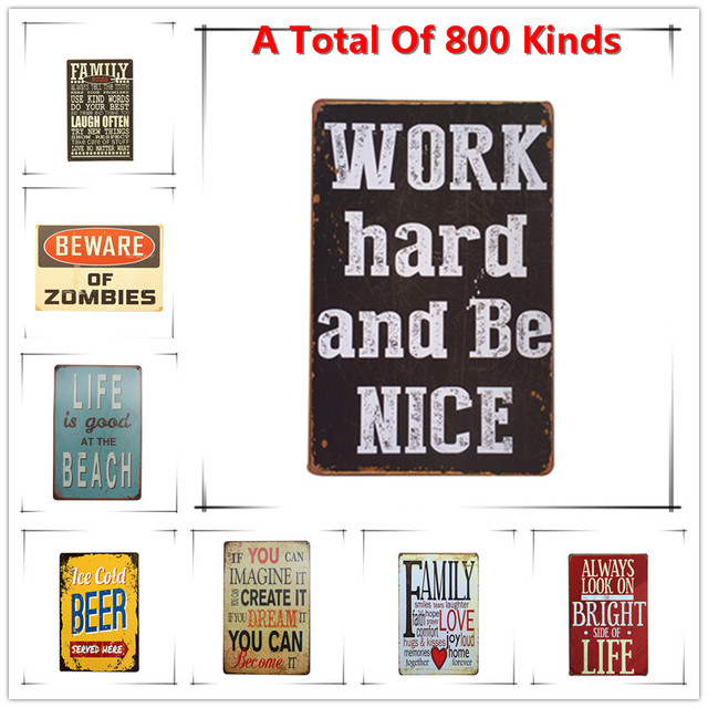 Hot Work Hard And Be Nice Words Vintage Metal Signs Home Decor Vintage Tin  Signs Pub