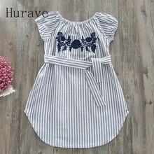 Hurave 2017 Girl Clothes Summer Dress Fashion Girls Cotton Stripe Floral Embroidery Belt Children Clothes Girl Vestidos