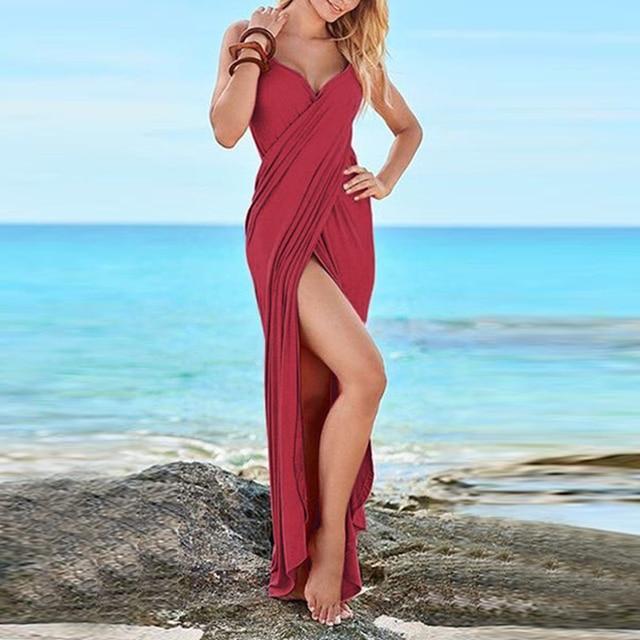 AIEnny Maxi Long Summer Beach Dress Elegant Women Sexy V Neck Solid Split Party Dress
