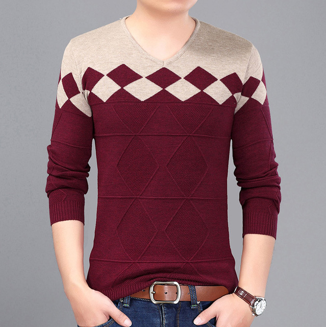 V-neck Full Pullovers Mens Knitwear Sweaters 2017 New Year's Fashion Autumn Winter Slim Fit Sweater Male Size M~3XL