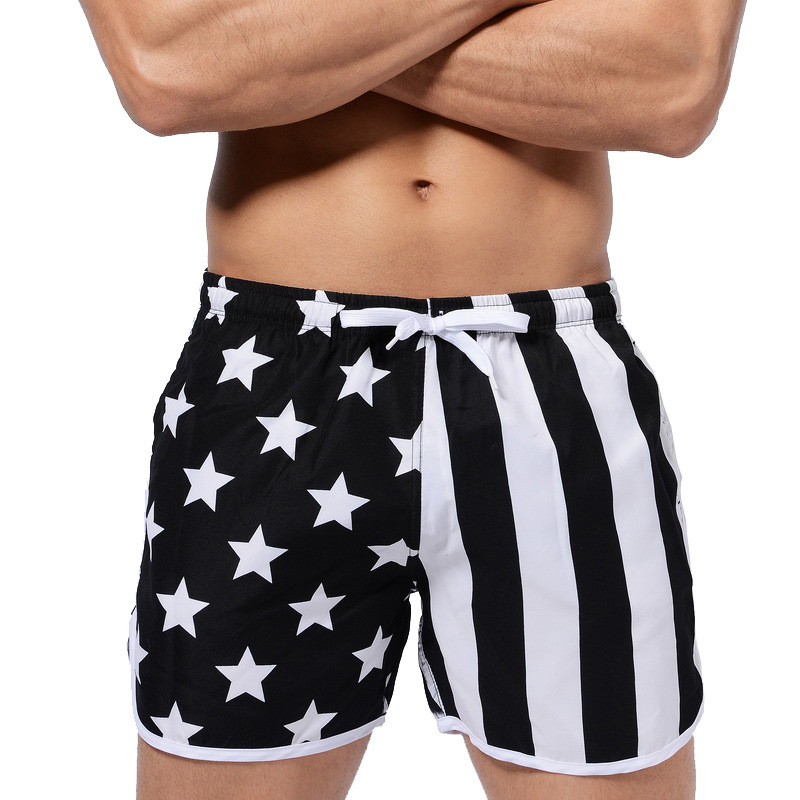 Men Swim Trunks USA Flag Quick Dry Swimwear Pocket Water Beach Board Shorts