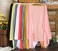 Женская конфеты цвет Летом Рубашка защита от Солнца с длинными рукавами прозрачный дизайн кондиционер кардиган Основные анти-уф clothing