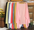 Women's candy color Summer Sun protection Shirt long-sleeve transparent design air conditioning cardigan Basic anti-uv clothing