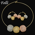 2017 Folli Fashion Dubai Gold Plated Jewelry Set Nigerian Wedding African Beads Earrings Necklace Set  /Rose/ Whtie Gold