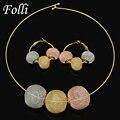 2017 Folli Moda Dubai Banhado A Ouro Jóias Set Casamento Nigeriano Africano Beads Colar Brincos Set/Rose/Ouro Whtie