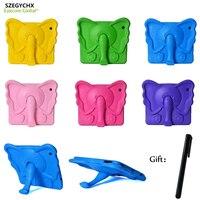 SZEGYCHX Teblt Case For Ipad 234 Elephant Nose Cute 3D Cartoon Handle Stand Kids Shockproof EVA