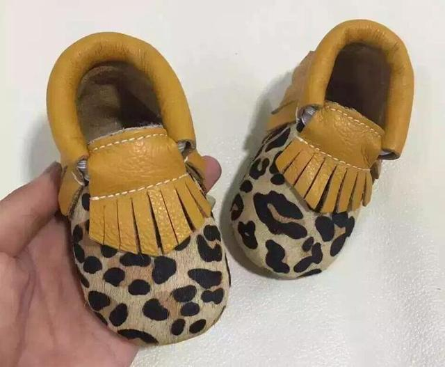 New Yellow leapard Baby Moccasins Shoes solid Baby girls Shoes handmade first walkers Cow leather soft bottom shoes