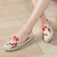 ROMMEDAL Womens loafers embroidery hemp Wrap casual shoes Summer new designer canvas breathable slip-on flats for women 2019
