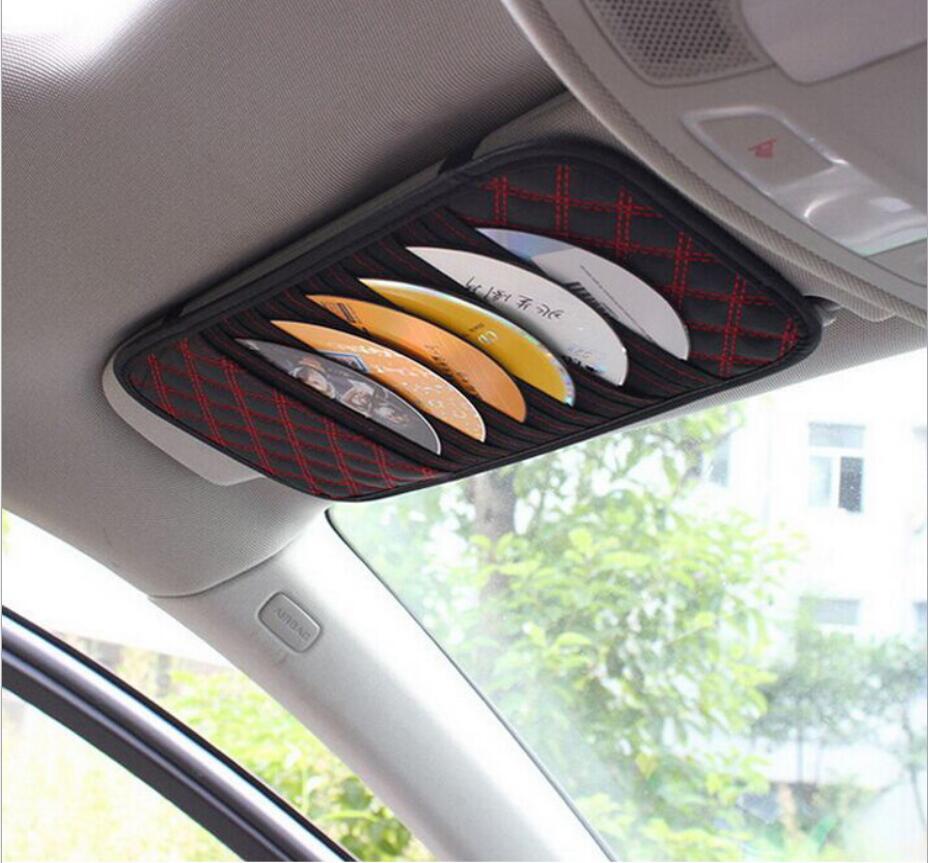 Car CD DVD Holder Disc PU Leather Storage Case Sunglasses Card Organizer Sun Visor Sunshade Sleeve Wallet Clips