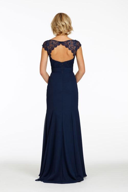 Sweetheart Chiffon A line Navy Blue Long Bridesmaid Dresses Lace Cap ...