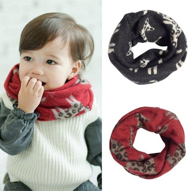 Одежда для малышей Обувь для мальчиков Обувь для девочек кошка узор Имитация кашемира шарф теплый шарф T55