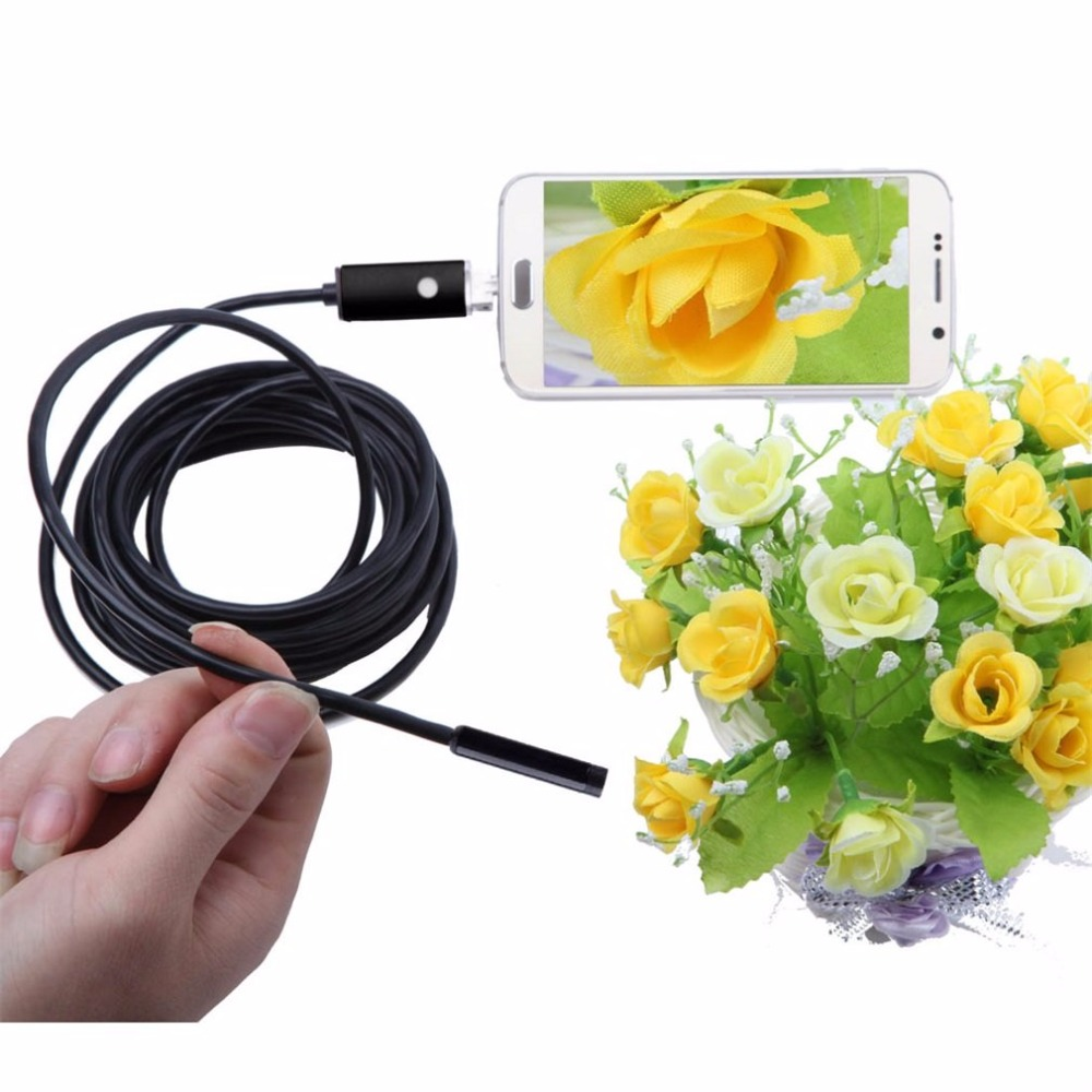 HD 720P 2 in1 8mm 10M USB Endoscope Waterproof Borescope Inspection Camera Surpport to Android & PC System Black Red
