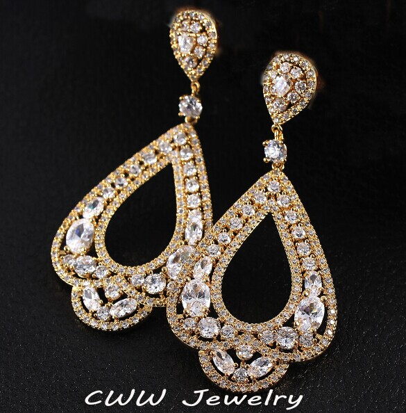 Cwwzircons 6 2 Cm Full Micro Paved Cz Crystal Gold Color Large Long Circle Hoop Earrings For