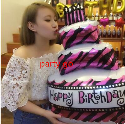100*68cm large size Birthday Cake Foil helium Balloons Birthday Party Decoration