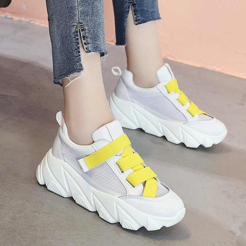 2019 Summer Mesh Casual Shoes Platform Shoes Breathable Sneakers Woman Espadrilles Lace Up Sneakers zapatos mujer N7324