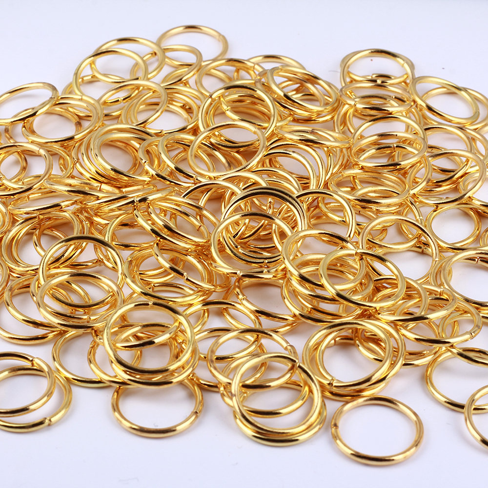 GDFSY 4 5 6 7 8 10 12 14 16mm 800pcs lot Alloy Gold Rings Earring Round Connector For Jewelry Keychain DIY Accessories S048 in Jewelry Sets from Jewelry Accessories