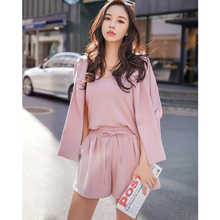 Dabuwawa Women's Suits Sets Women 2018 New Pink Suit Shirt Shorts 3 pieces Sets Autumn Office lady Formal Outwear Sets