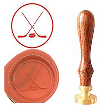 Ice Hockey Vintage Custom Picture Logo Luxury Wax Seal Sealing Stamp Brass Peacock Metal Handle Gift Set