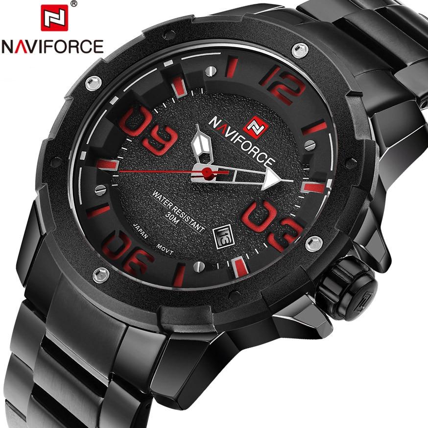 NAVIFORCE Full Steel Men watch Big Pointer Analog Quartz Clock Man Sports Waterproof Watches Army Male Hour Relogio Masculino