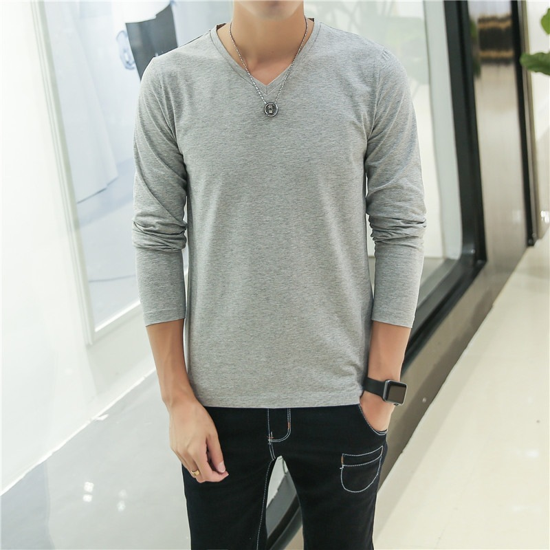 2019 MRMT men's t shirt pure color V neck long sleeved T-shirt For male blank Thin material tee shirt young men Free Shipping