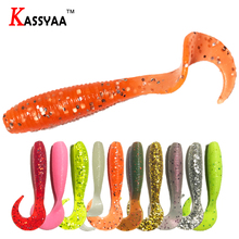 цена на KASSYAA New Curly Soft Bait 5pcs 70mm 3g Lure Fishing Grub Minnow Swimbaits Lifelike Fishing Plastic Bass Silicone Soft Baits