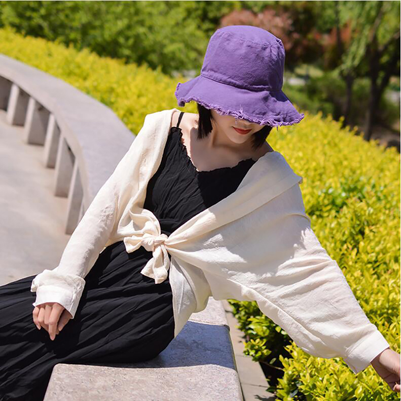 Cotton Women Bucket Hat For Travel Picnic sun hats for women Beach Folding Washed Soft Cloth Caps Fisherman's hats