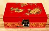 Jewelry Box Wooden Pingyao Light Lacquer Ware Dressing Case Cosmetic Case Wedding Gift Practical Hand