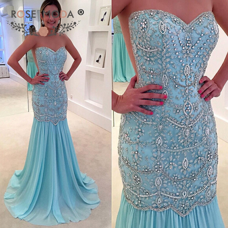Rose MOda Crystal Beaded Mermaid Blue Prom Dress with See Through Back Formal Wedding Party Dress