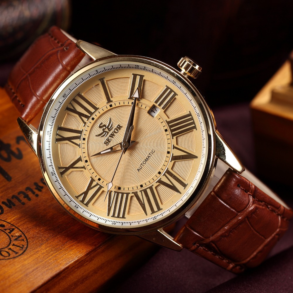 SEWOR Luxury Brand Men Mechanical Hand Wind Watch Retro Gold Roman Numeral Brown Leather Strap Clock Male Casual Automatic Watch casual new fashion sewor brand skeleton men male military army clock classic luxury gold mechanical hand wind wrist watch gift