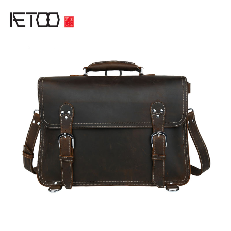 AETOO Europe and the United States retro crazy horse handmade handbags travel men bag large multi - functional computer bags aetoo new front cowhide retro leather shoulder bag men travel backpack europe and the united states crazy horse leather