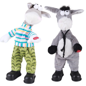 Плюшевые электрические домашние питомцы с головой осликом, пение и танцы, игрушки для детей, Рождественский Забавный подарок