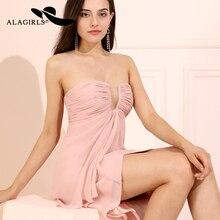 Alagirls A Line Chiffon Prom Dress Hi-Lo Party Sexy Illusion V Neckline Evening Dresses Vestido de fiesta 2019