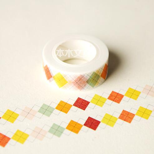 JG409  1.5CM Wide Colorful Diamond Shape Washi Tape DIY Scrapbooking Sticker Label Masking Tape School Office Supply 1 5cm wide amazing library books washi tape diy scrapbooking sticker label masking tape school office supply