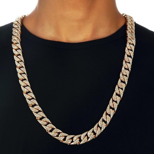 11e0cd24b6c2 Collar de cadena cubana de bordillo de Miami para hombres de oro plata Hip  Hop helado