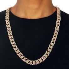 9fcfa8e9faf2 Collar de cadena cubana de bordillo de Miami para hombres de oro plata Hip  Hop helado pavé diamantes de imitación CZ rapero coll.