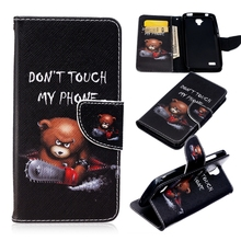 For Huawei Y5 Y560 Folio Stand Magnetic Card Slot Wallet PU Leather Phone Case Painted Cartoon Bear Electric Saw Back Cover Bag
