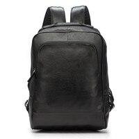 LAPOE мужской рюкзак внутренний слот карман ноутбук рюкзак натуральная кожа сотовый телефон пакеты черный бизнес ноутбук рюкзаки