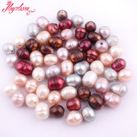 Wholesale 100 Pc 7x9 9x11mm Natural Oval Freshwater Pearl Beads Gem Stone 2 Hole For Necklace