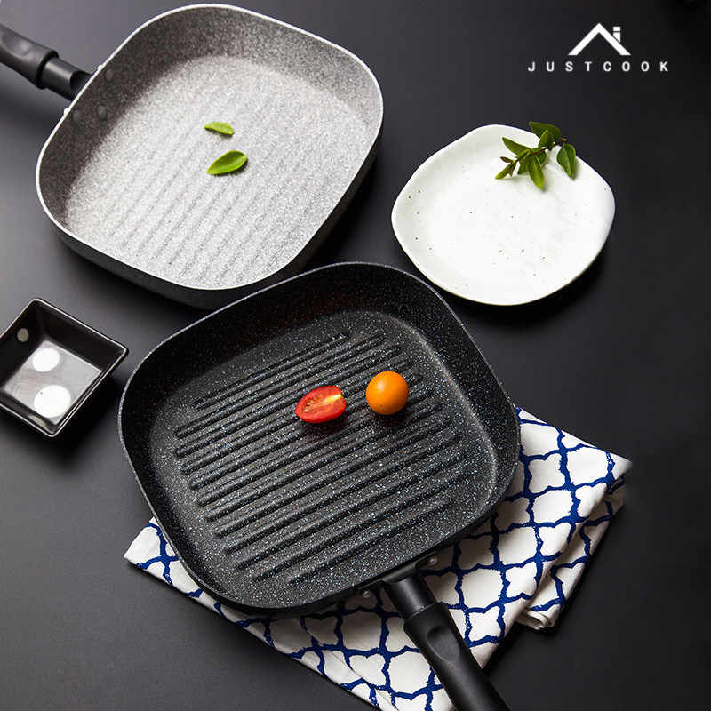 Justcook 22x24 ซม.สเต็กย่างกระทะNon-Stickกระทะครัวทอดไข่ทำอาหารสเต็กกระทะ