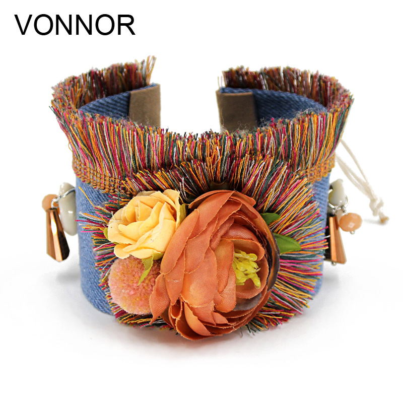 VONNOR Fashion Bracelet for Women Handmade Bohemian Colorful Tassel Flowers Jewelry Wide Friendship Bracelet Dropshipping