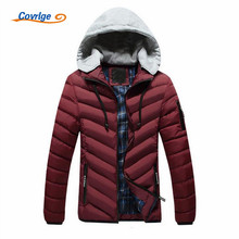 Covrlge 2017 Men's Parkas Fashion Comes with Music Headphones Winter Puffer Cotton Coats Solid Color Brand Clothing L-3XL MWM002