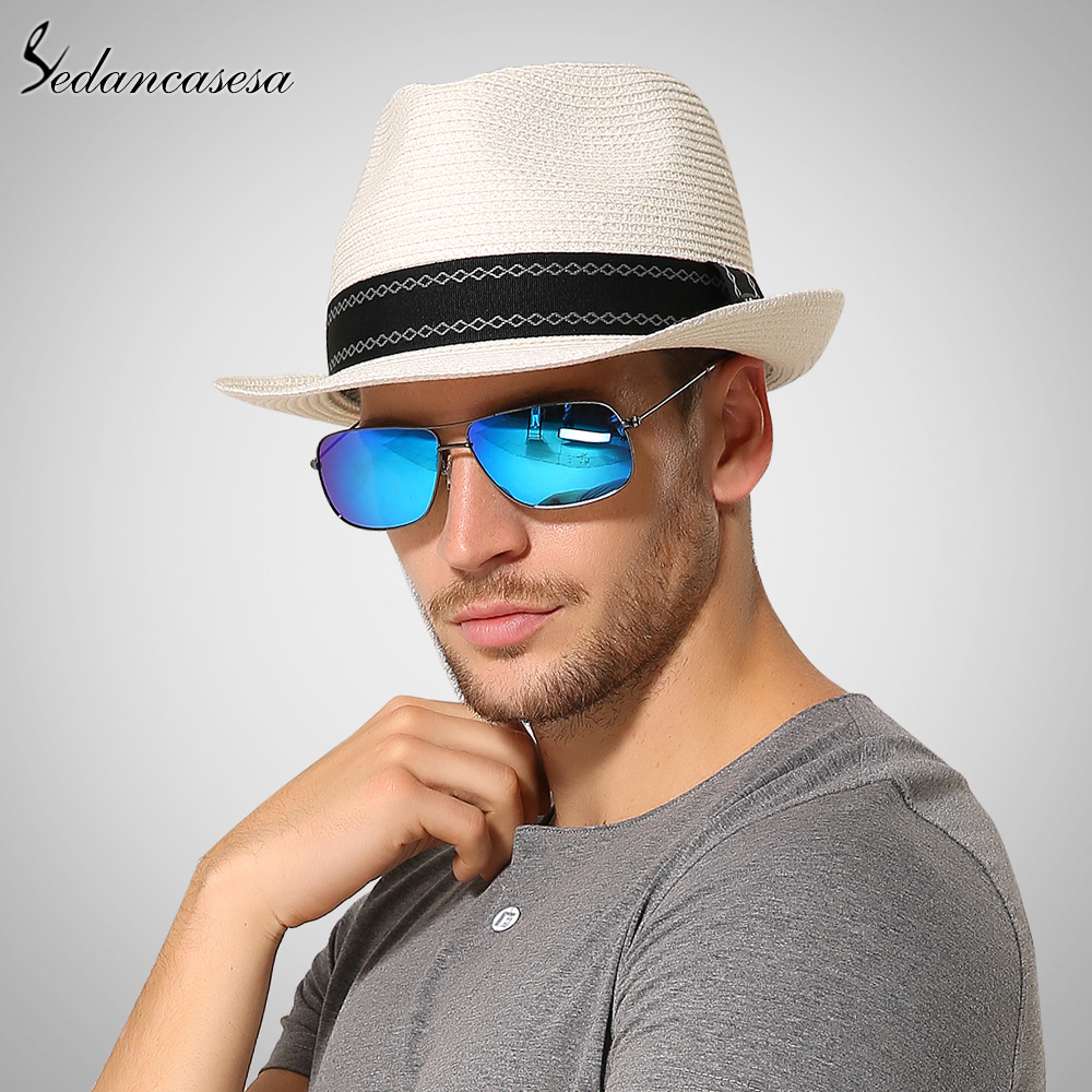 Sedancasesa New Trilby Straw Hats For Men Beach Summer Sun Hat Sun Protect Fedora Straw Hat With Ribbon Casual Style SM008081