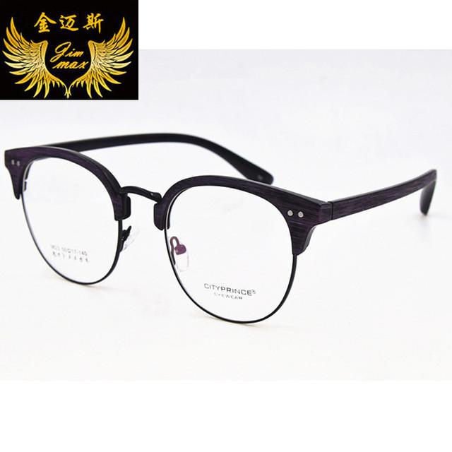 New Vintage Mulheres Óculos TR90 2016 Qualidade Moda Estilo Retro Rodada óculos Frame Ótico Óculos de Imitação de Madeira Para As Mulheres Oculos