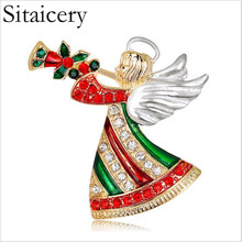 цена на Sitaicery 2019 Christmas Brooch Pin Red Angel Rhinestone Brooch For Women Luxury Jewelry Christmas Party Gift Pins And Badges