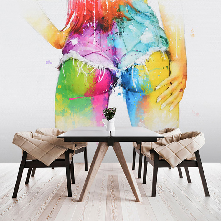 Free Shipping 3D water color graffiti wallpaper sexy beauty large mural casual bar restaurant cafe clothing shop wallpaper