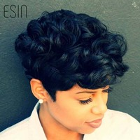Esin Mixed Hair 70 Natural Hair 30 Synthetic Hair Short Curly Pixie Cut Natural Black Wigs