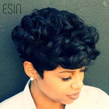Esin Mixed Hair 70% Human Hair + 30% Synthetic Hair Short Curly Pixie Cut Natural Black Wigs for African American Black Women