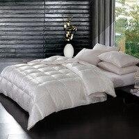 За 95% гусиный Подпушка одеяло хлопок/шелк уютные ткани Высокое качество Подпушка Пододеяльники King Размеры Стёганое одеяло взрослых дома Сп...