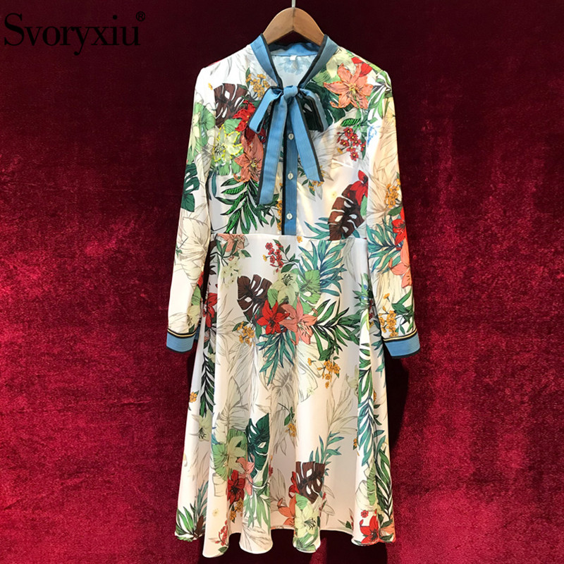 Svoryxiu Autumn Winter Runway Floral Print Dress Women s Elegant Long Sleeve luxury Beading Vintage Knee