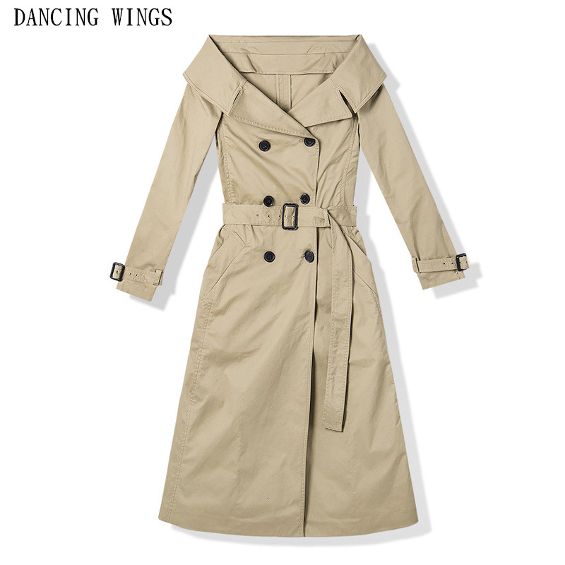 Autumn Sexy Off Shoulder Trench Coat For Women Elegant Slim X-Long Windbreaker Female Double Breasted Sash Casual Outwear